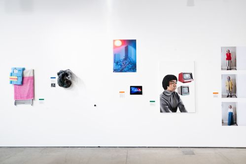 Artworks displayed on a gallery wall