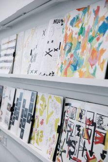 artwork on shelf