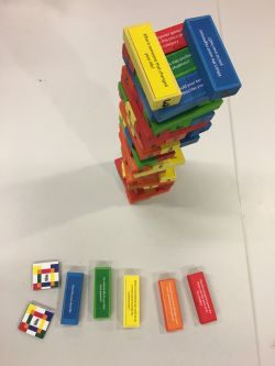 Coloured blocks on a table