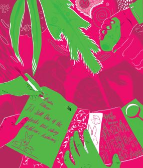 Pink and green illustration by Reiss Hesson.