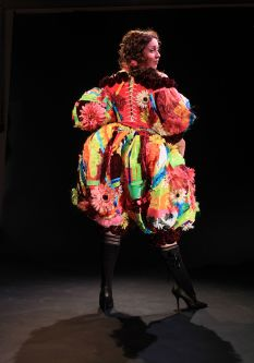Cheeky brightly coloured oversized costume worn by model by Victoria Conte