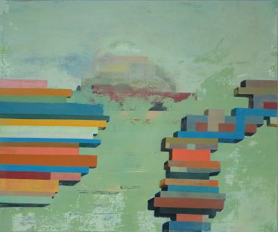 Coloured layers stacked in rock like forms in space by Hugh Delap.