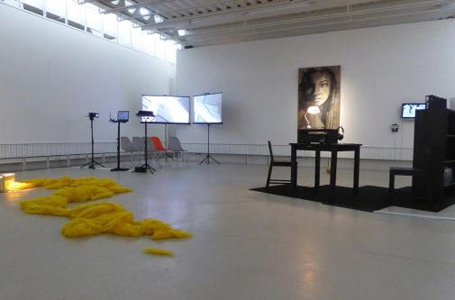 MFA Fine Art exhibition featuring floor sculptures, video work and paintings.