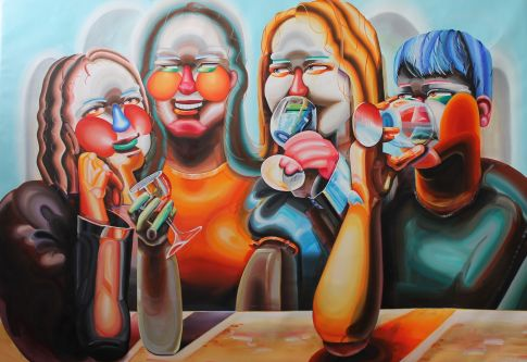 Painting of three girls and a boy drinking and smiling by Heejoh Lee - MA Fine Art Painting.