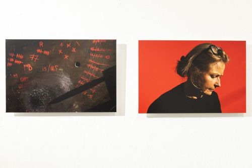 Two photographs, one showing a portrait of a woman against a red background.