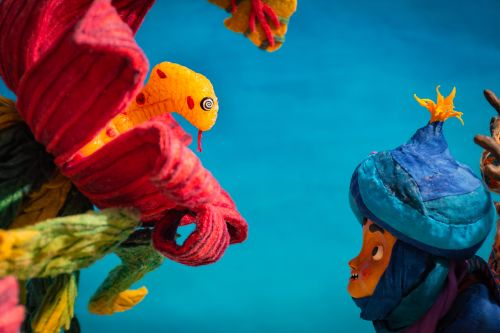 Stop-motion character puppets.
