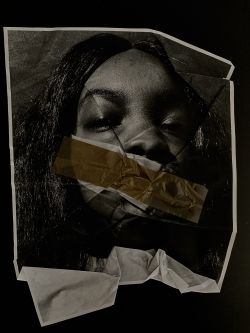 Collage features creased black and white photograph of a person with mouth covered by tape.