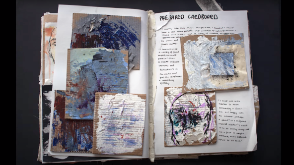 Sketchbook containing samples of painting onto cardboard