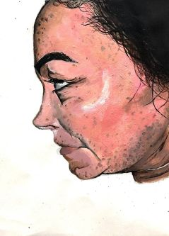 Painting of a side profile of a face