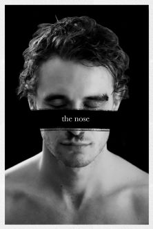 A greyscale image of a man's profile covered by the words, 'the nose'.