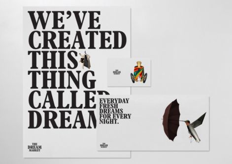 Front cover of a publication for The Dream Market with text across the page that reads 'We've created this thing called dream'. One illustration shows a hummington with an umbrella at the end of its beak.