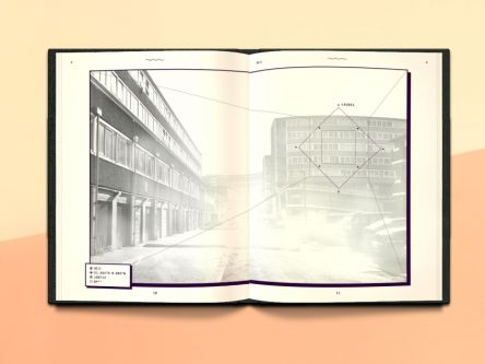 Double-page of a publication, the image shows a car park and tower blocks, bleached by light.