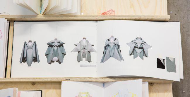 garment sketches in a Sketchbook