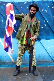 Man holding flag.