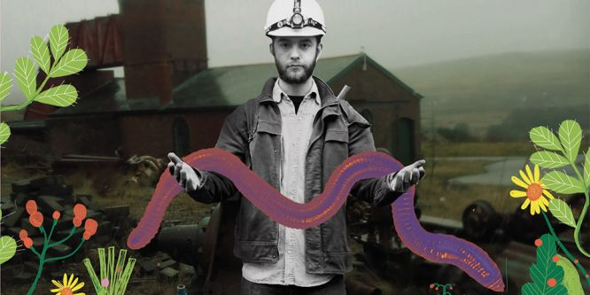 A young man wearing a white miner's helmet and denim jacket holds a large purple snake in both hands, the image is part photograph and part illustration