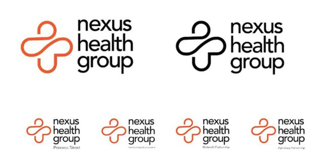 Different versions of the Nexus health group logo