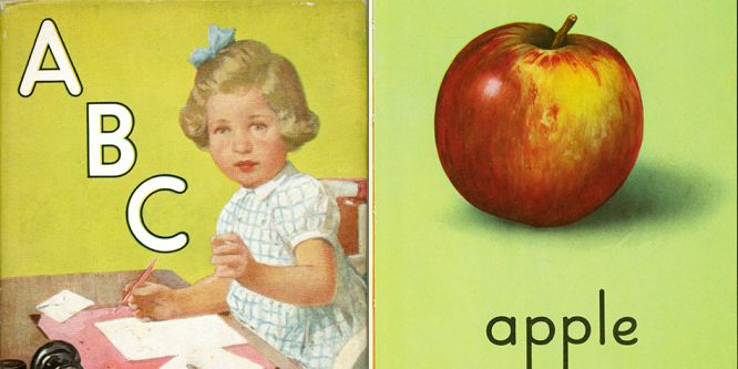 Two illustrations, one of 'ABC' the second of an apple