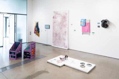 Artworks displayed in a gallery