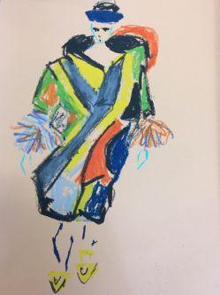 Fashion Illustration, figure wearing colourful coat
