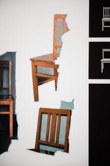 A digital cut up of a chair