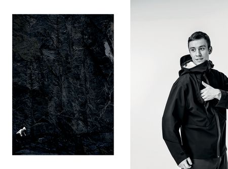 Closeup of sports jacket fabric next to a picture of a male model wearing a sports jacket