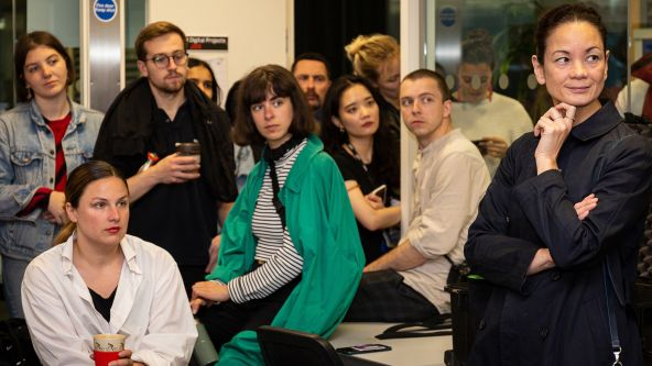 An audience of students and Swarovski staff attending the MA Material Futures portfolio viewing