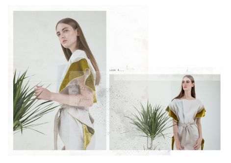 Female model in outfit with indoor plant