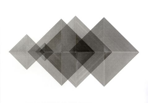 Series of black line drawn squares on white background