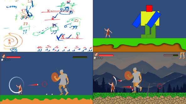 grid of 4 images showing development from paper to digital. screenshot displays the battle between a small David and a large Goliath.