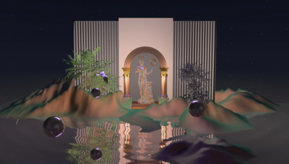 Image of fantasy resort with greek like figures in the middle of two pillars amongst jungle.