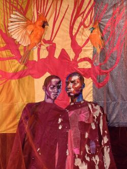 Artwork by Liana Ambrose-Murray of two figures in red on fabric