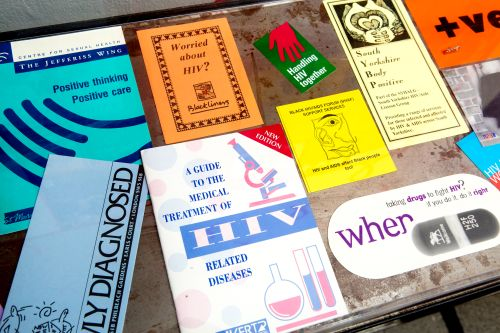 Selection of colourful publications around the subject of HIV Aids