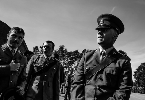 Black and white photograph of soldiers in uniform.
