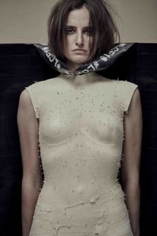 The plaster-cast bust of a model's form is wrapped in LCF19 tape.