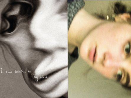 Two distorted photographs of woman's face