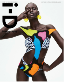 an ID magazine cover with a woman covering her eye wearing a colourful swimsuit