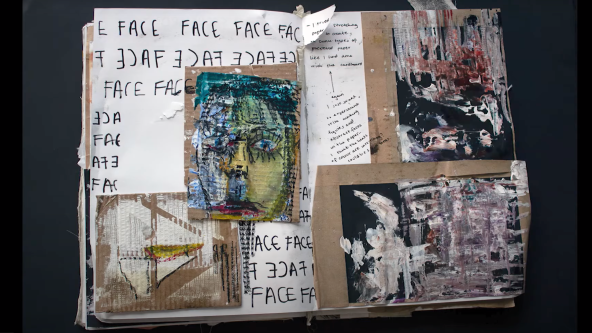 Sketchbooks with samples of painting faces onto cardboard