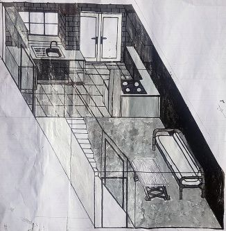 Architectural painting of inside of a kitchen