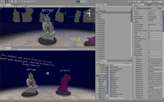 A screenshot of software used to build a game. Part of the screen is split into two animations - figurines in a purple landscape. The other part of the screen shows the programming options.