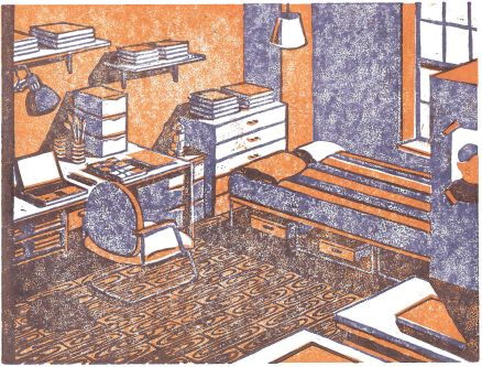 An illustration of bedroom furniture in tones of orange, brown and mauve.