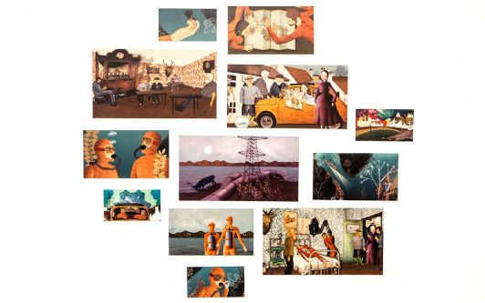 An ensemble of prints from the same animation. They show different scenes depicting characters deep sea diving, reading maps and travelling.