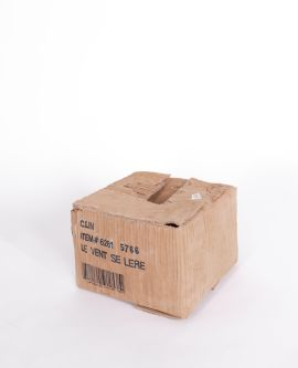 cardboard box artefact with french writing