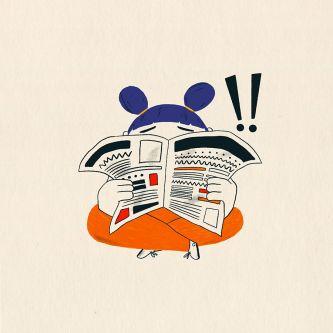 Illustration of girl reading newspaper