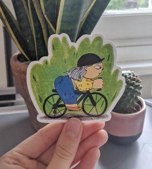 Pedal power- Female cyclist illustration sticker.jpg