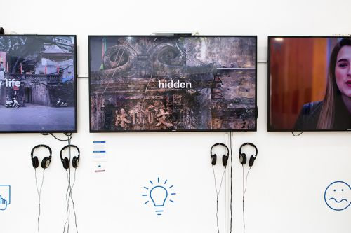 Three screens featuring student work.