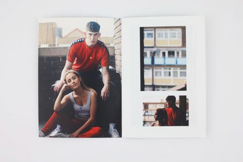 Two photos of models on the balcony of a building, wearing a red t-shirt and tracksuits.