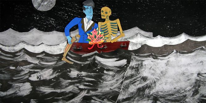 An illustration of two a man and a skeleton sat in a red boat on a black and white sea