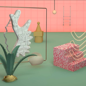 Illustration of room with pink walls and green floor with abstract objects dotted around