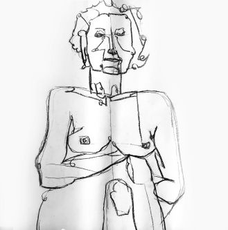 Line sketch of woman's head and naked torso
