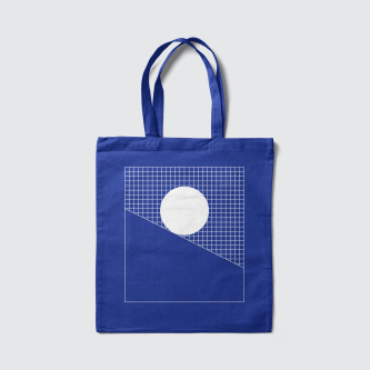 Modes of thought motivational poster momentum monochrome grid blue bag by Lets Be Brief